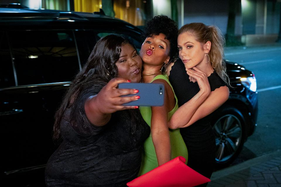 """Veronica (Janelle Monae, center) and her girlfriends (Gabourey Sidibe, left, and Lily Cowles, right) enjoy a night out on the town in """"Antebellum."""""""