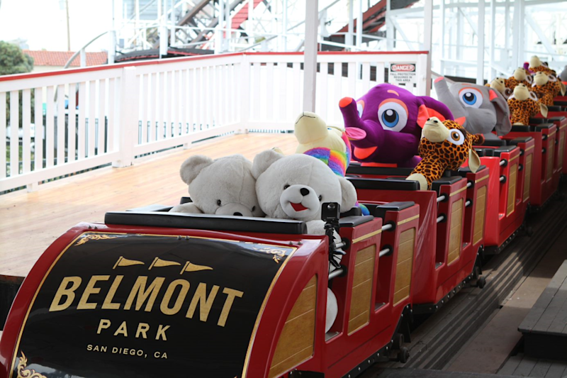 The Giant Dipper at California's Belmont Park has substituted stuffed animals for passengers to run maintenance checks during the coronavirus shutdown. (Photo: Courtesy of Belmont Park)