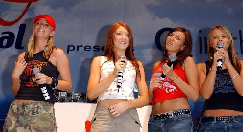 (L to R) Sarah Harding, Nicola Roberts, Nadine Coyle and Kimberley Walsh from Pop Stars - The Rivals winners Girls Aloud performs at Capital FM presents O2 in the city at Greenwich, London. The fifth member of the band Cheryl Tweedy was unable to attend due to an illness.