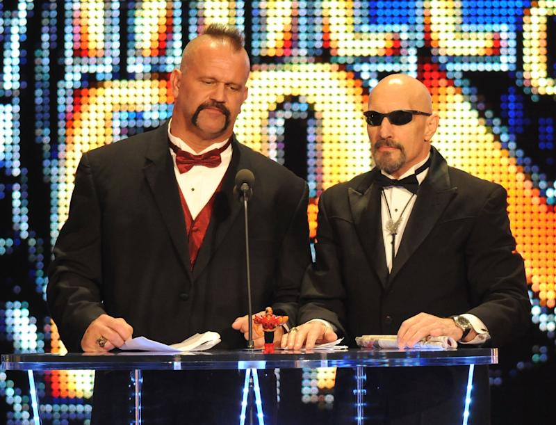Road Warrior Animal and manager Paul Ellering attend the WWE 2011 Hall Of Fame Induction at Philips Arena on April 2, 2011 in Atlanta, Georgia. (Photo by George Napolitano/FilmMagic)
