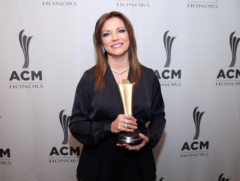 NASHVILLE, TENNESSEE - AUGUST 21: Martina McBride backstage during the 13th Annual ACM Honors at Ryman Auditorium on August 21, 2019 in Nashville, Tennessee. (Photo by Terry Wyatt/Getty Images for Academy of Country Music)