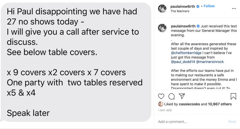 Chef Paul Ainsworth shared the 'disappointing' result to his Instagram page. Source: Instagram/Paul Ainsworth
