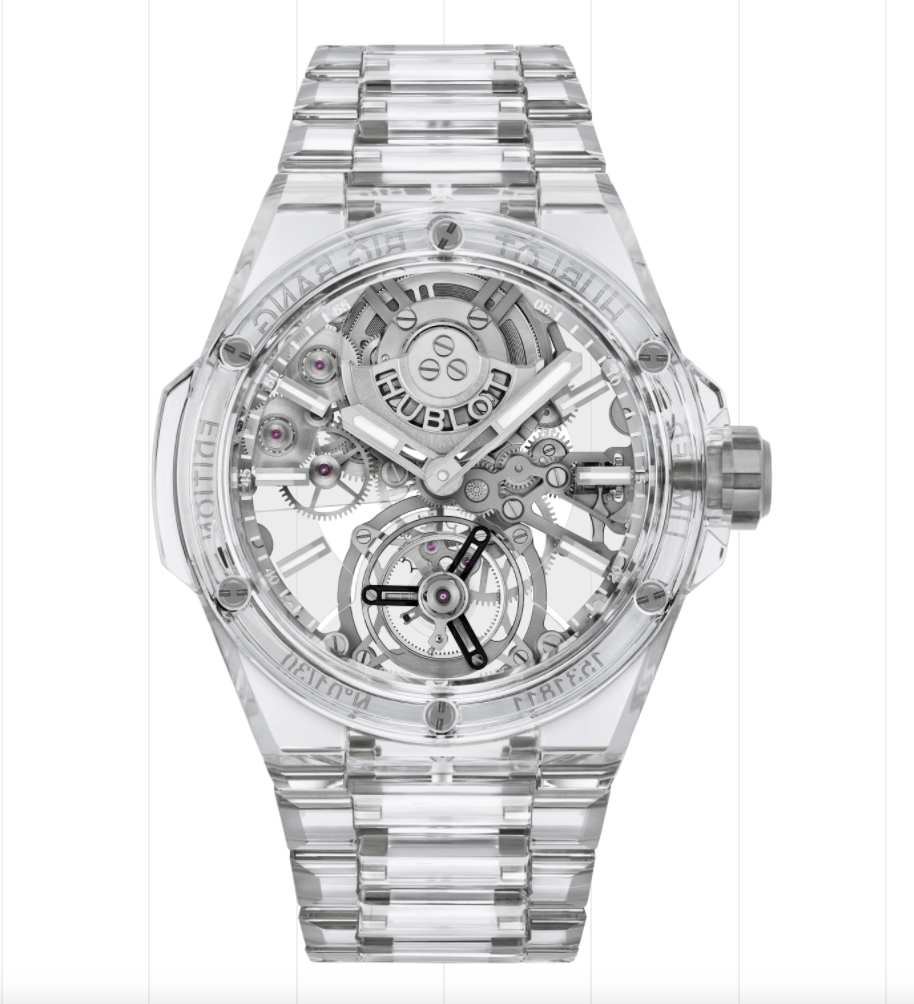 """<p>hublot.com</p><p><strong>$422000.00</strong></p><p><a href=""""https://www.hublot.com/en-us/watches/big-bang/big-bang-integral-tourbillon-full-sapphire-43-mm"""" rel=""""nofollow noopener"""" target=""""_blank"""" data-ylk=""""slk:Shop Now"""" class=""""link rapid-noclick-resp"""">Shop Now</a></p><p>Designed to """"capture the light"""" on your wrist, Hublot's watch is a feat of engineering as it is made almost entirely from synthetic clear sapphire and titanium. </p><p>Case size: 43mm</p>"""