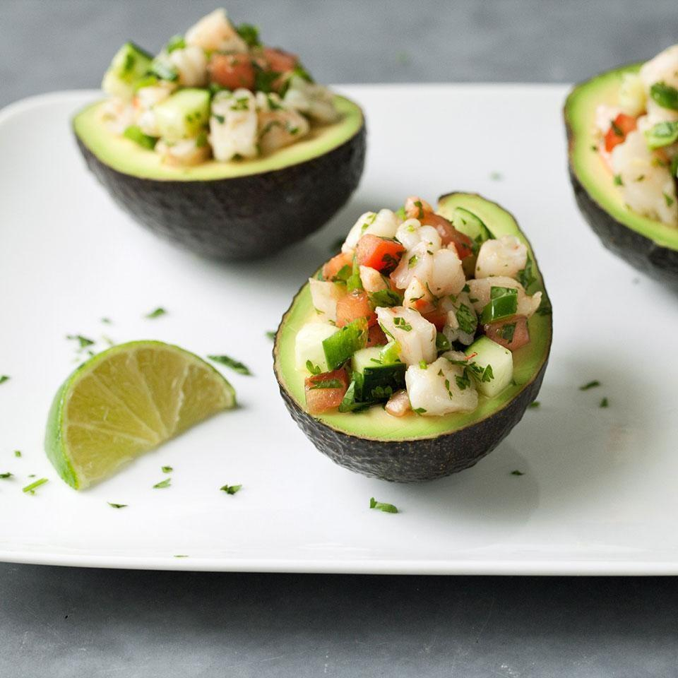 <p>Rather than serving this easy mock shrimp ceviche with chips or tortillas, cut some carbs and pile the citrusy seafood in fresh avocado bowls for a fun and healthy presentation.</p>