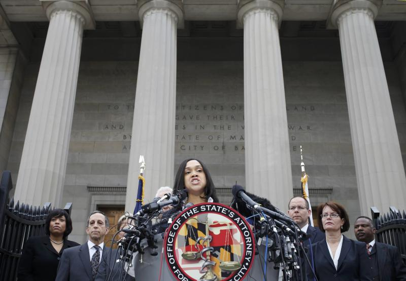 """REFILE - CORRECTING SPELLING IN FIRST SENTENCE  Baltimore state attorney Marilyn Mosby speaks on recent violence and says there is """"probable cause to file criminal charges in the Freddie Gray case""""  of officers involved in the arrest of the black man who later died of injuries he sustained while in custody in Baltimore, Maryland May 1, 2015.    REUTERS/Adrees Latif"""