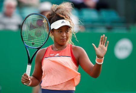 Tennis - WTA International - Nature Valley Open - Nottingham Tennis Centre, Nottingham, Britain - June 13, 2018 Japan's Naomi Osaka reacts during her second round match against Denisa Allertova of the Czech Republic Action Images via Reuters/Peter Cziborra