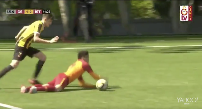 10e1c5bba7d Galatasaray's under-14s captain made amends for his embarrassing dive by  missing the resulting penalty