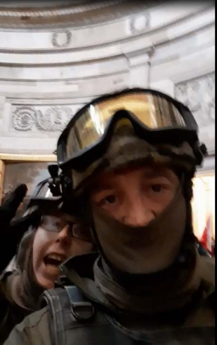 Jessica Watkins and Donovan Crowl inside the Capitol Rotunda after allegedly storming the building. Both are alleged militia members from Ohio facing conspiracy charges. / Credit: FBI