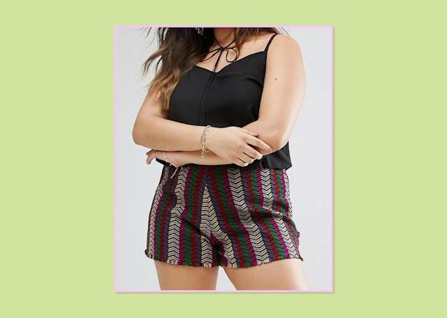 "<p>ASOS Curve Jacquard Festival Shorts, $45, <a href=""http://us.asos.com/asos-curve/asos-curve-jacquard-festival-shorts/prd/7877421?iid=7877421&clr=Multi&cid=12359&pgesize=36&pge=1&totalstyles=54&gridsize=3&gridrow=1&gridcolumn=1"" rel=""nofollow noopener"" target=""_blank"" data-ylk=""slk:ASOS"" class=""link rapid-noclick-resp"">ASOS </a> </p>"