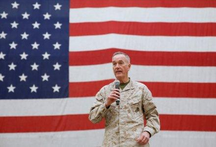 FILE PHOTO - Gen. Joseph Dunford, chairman of the Joint Chiefs of Staff, speaks during celebrations on Christmas Eve at a U.S. airfield in Bagram, north of Kabul, Afghanistan December 24, 2017. REUTERS/Mohammad Ismail