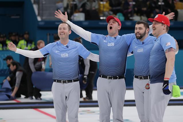 The U.S. men's curling team celebrates its gold medal at the 2018 Winter Olympics in PyeongChang. Thousands of Americans celebrated with them back home. (Getty)