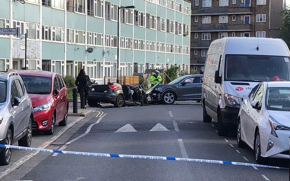 Two officers were taken to hospital after the collision - TWITTER