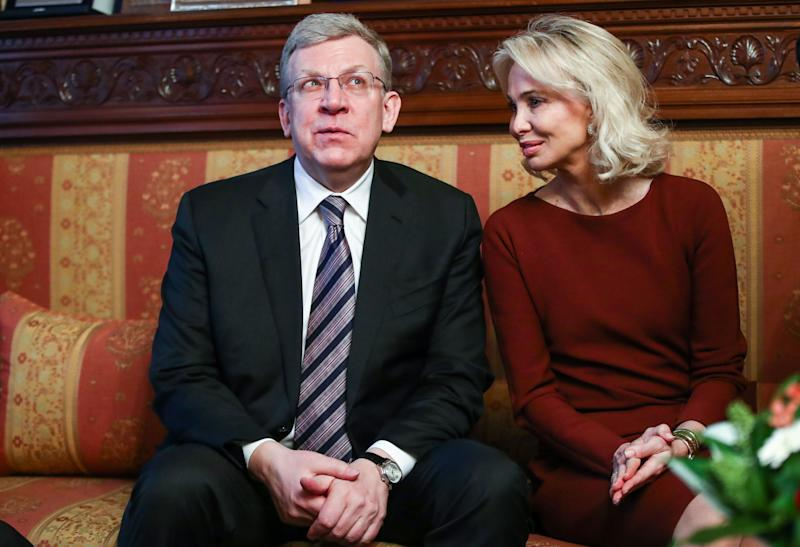MOSCOW, RUSSIA - FEBRUARY 1, 2019: Russian Accounts Chamber Chairman Alexei Kudrin (L) and German princess Corinna zu Sayn-Wittgenstein ahead of a ceremony held at the Italian Embassy in Moscow to award an Order of the Star of Italy (Grand Officer) to conductor Valery Gergiev, Artistic Director of the Mariinsky Theatre, for outstanding achievements in developing friendship and cooperation between Italy and other countries. Valery Sharifulin/TASS (Photo by Valery Sharifulin\TASS via Getty Images)
