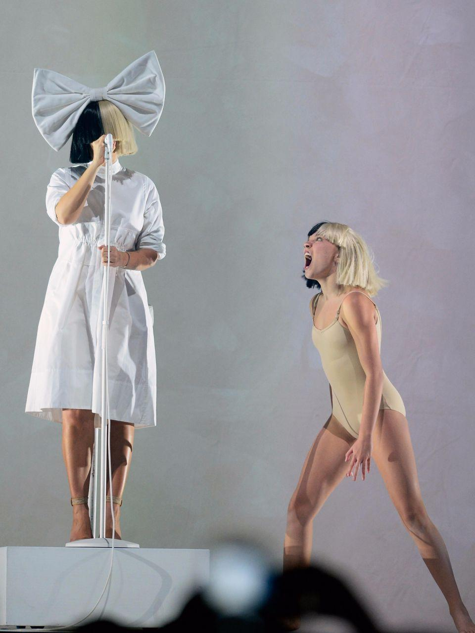 Sia and Mini-Sia on stage. Source: Getty