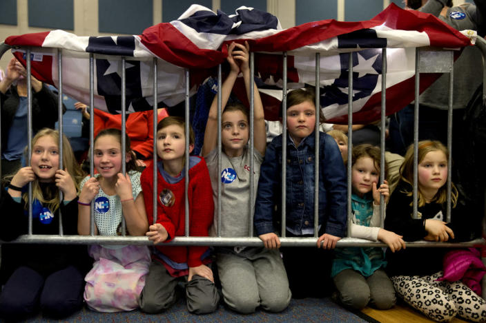 <p>Young supporters of Democratic presidential candidate Hillary Clinton listen as she speaks in Hampton, Tuesday, Feb. 2, 2016. <i>(Photo: Jacquelyn Martin/AP)</i></p>