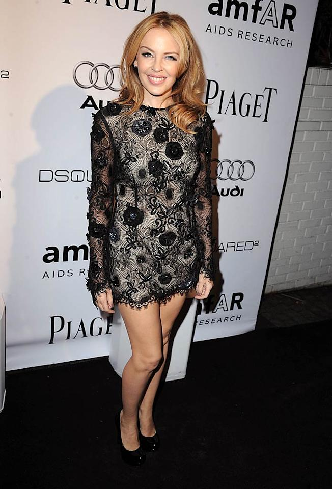 "Sporting a sexy, barely-there mini from Giles Deacon's debut collection for Emanuel Ungaro, Australian pop star Kylie Minogue was the hostess with the mostess at amfAR's Inspiration Gala, held at L.A.'s Chateau Marmont. Steve Granitz/<a href=""http://www.wireimage.com"" target=""new"">WireImage.com</a> - October 27, 2010"