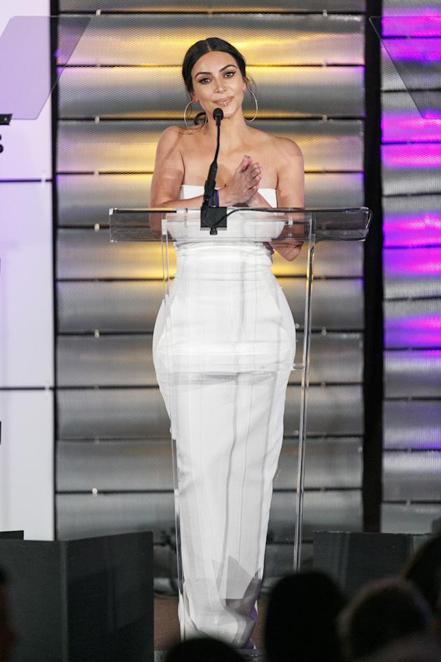 <p>Onstage at the Family Equality Council's Impact Awards at the Beverly Wilshire Hotelin Beverly Hills, California, in a form-fitting white Rick Owens dress and a lip ring.<span></span></p>
