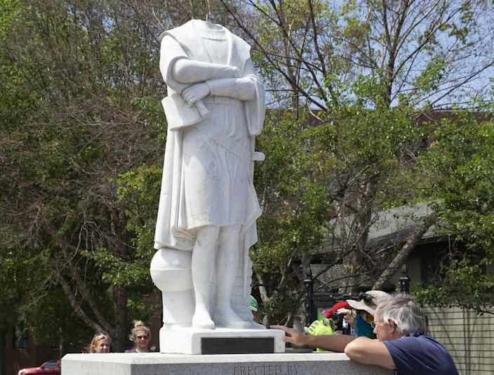 The head of Christopher Columbus was chopped from a statue in Boston