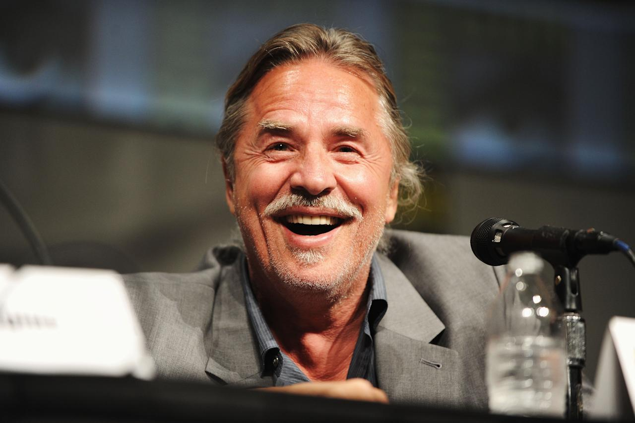 """SAN DIEGO, CA - JULY 14:  Actor Don Johnson speaks at the """"Django Unchained"""" panel during Comic-Con International 2012 at San Diego Convention Center on July 14, 2012 in San Diego, California.  (Photo by Albert L. Ortega/Getty Images)"""