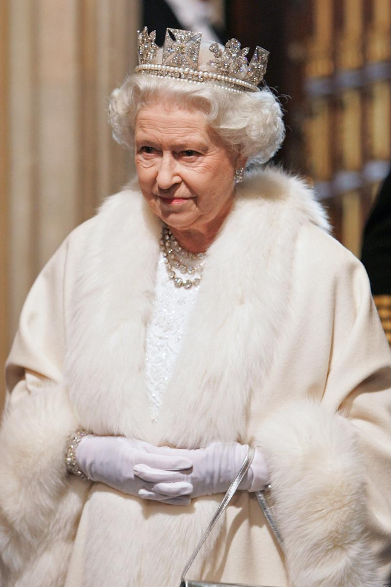 At the state opening of parliament in 2007, the queen wore a robe coat trimmed with white fur.