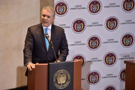 Colombian President Ivan Duque speaks during a hearing at  the Constitutional Court in Bogota