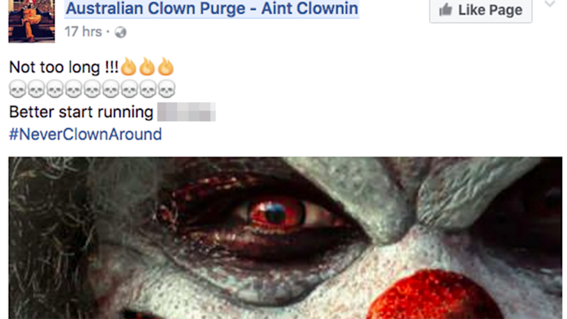 The clowns have taken to Facebook warning people of their presence. Photo: Facebook.