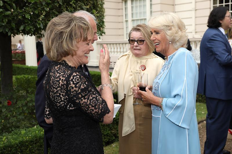 LONDON, ENGLAND - JULY 13: Camilla, Duchess of Cornwall talking to Esther Rantzen (l) and guests at a reception to mark her 70th birthday at Clarence House on July 13, 2017 in London, England. (Photo by Tim P. Whitby - WPA Pool/Getty Images)
