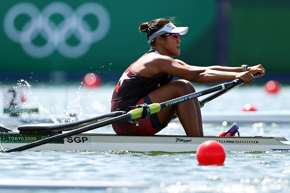 Singapore rower Joan Poh competing in the women's single sculls event ar the 2020 Tokyo Olympics.