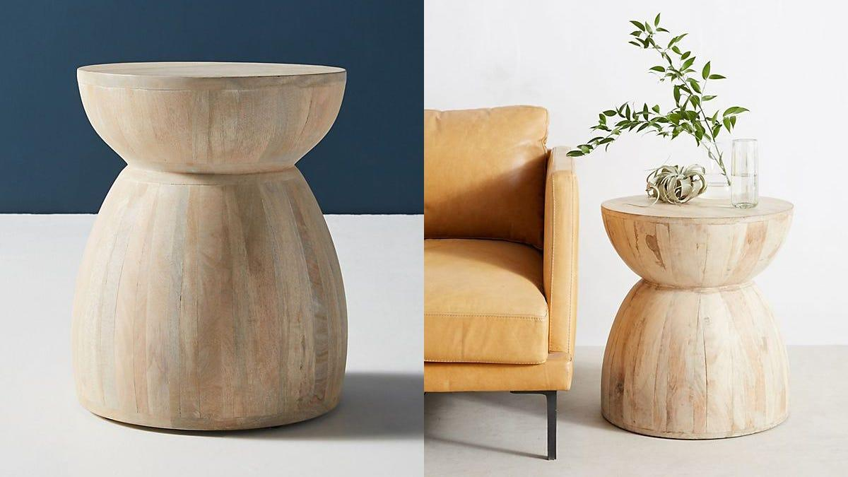 This worn-looking side table will add a rustic touch to your space.