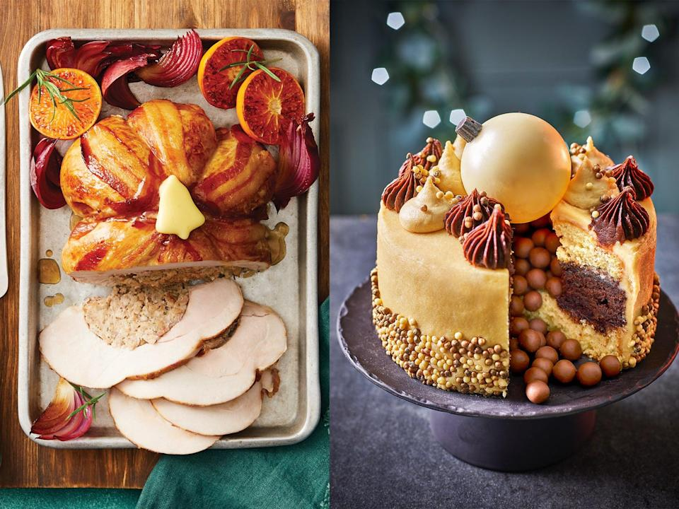 <p>For a decadent spread this Christmas, start shopping for the 25 December now as supermarkets' seasonal offerings are available online and in-store to shop</p> (Left, Morrisons, right, Tesco)