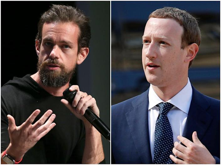 "Jack Dorsey, left, and Mark Zuckerberg. <p class=""copyright"">Phillip Faraone/Getty Images for WIRED25; Francois Mori/AP</p>"
