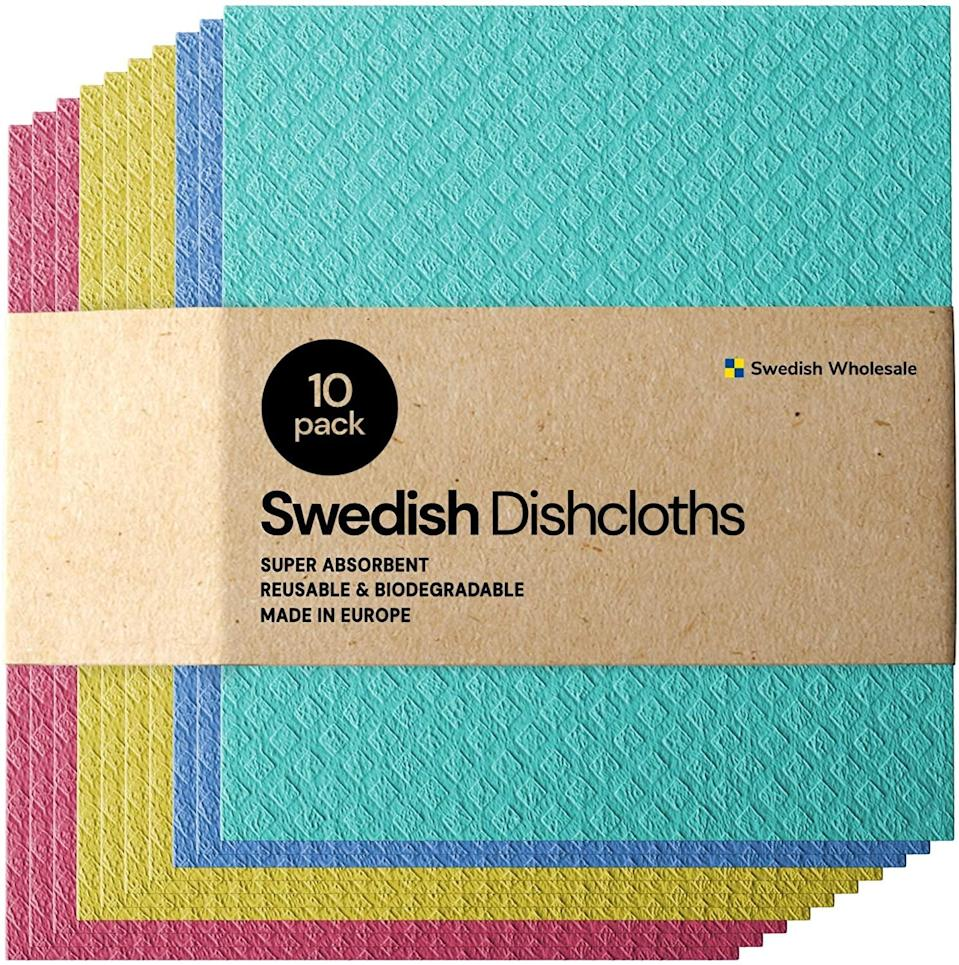 <p>Keep your kitchen clean without producing more waste with these <span>Swedish Dishcloth Cellulose Sponge Cloths - 10 Pack </span> ($20).</p>