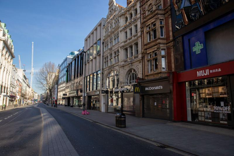 Major shops on Oxford Street, closed for business in London's lockdown. Source: Getty