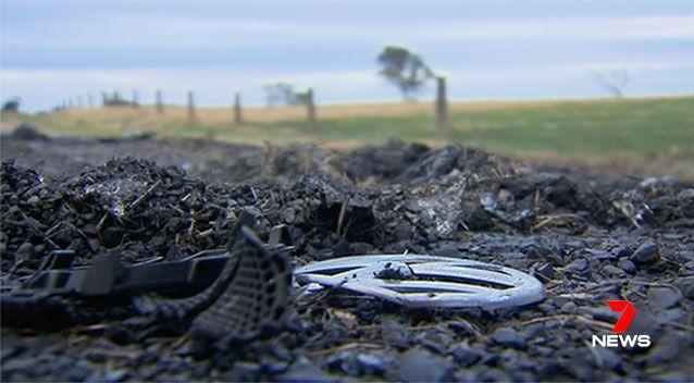 The vehicle believed to be used in the shooting was found burnt out in Keysbourgh, a few hours later. Picture: 7 News