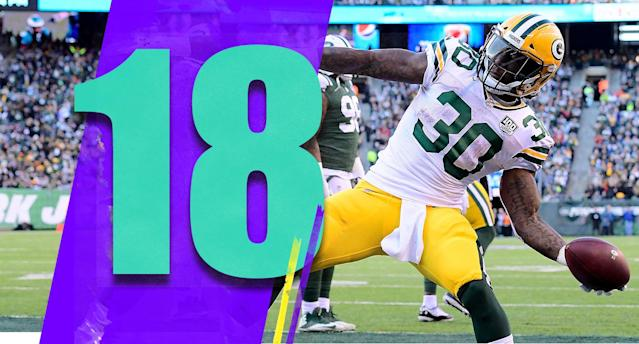 <p>Jamaal Williams had 156 total yards replacing Aaron Jones, who is a very good runner. Rookie receivers Equanimeous St. Brown and Marquez Valdes-Scantling combined for 10 catches and 169 yards, to complement the fantastic Davante Adams. Aaron Rodgers had a vintage performance. Whoever the Packers' next coach is, he'll have plenty of offensive talent to work with. (Jamaal Williams) </p>