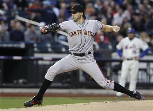 San Francisco Giants' Barry Zito delivers a pitchduring the first inning of a baseball game against the New York Mets, Friday, April 20, 2012, in New York. (AP Photo/Frank Franklin II)