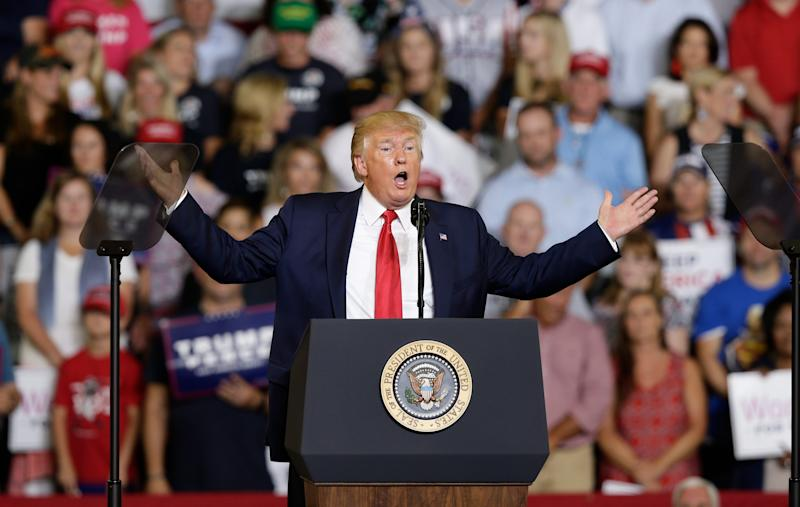 President Donald Trump speaks at a campaign rally in Greenville, N.C.