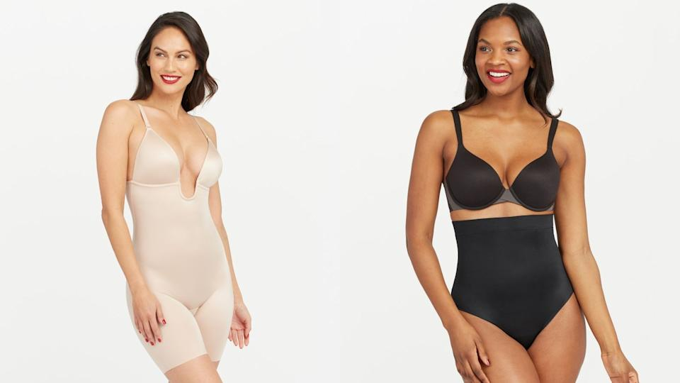 Spanx's Suit Your Fancy Plunge Low-Back Mid-Thigh Bodysuit and Suit Your Fancy High-Waisted Thong.