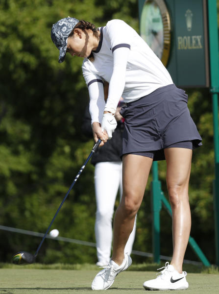 Michelle Wie hits on the 10th tee during the first round of the KPMG Women's PGA Championship golf tournament, Thursday, June 20, 2019, in Chaska, Minn. (AP Photo/Charlie Neibergall)