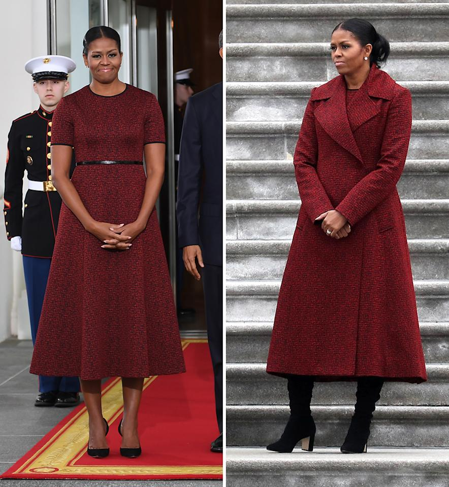 <p>To close out her time as first lady, Michelle Obama called on one of her favorite designers: Jason Wu. While at the White House she greeted her successor Melania Trump without her coat on revealing a short-sleeved midi-length dress belted at the waist. She paired it with pumps. For the outdoor ceremony she put on a matching jacket in the same red material and slipped on some high suede boots. <i>(Photos: Getty Images)</i></p>