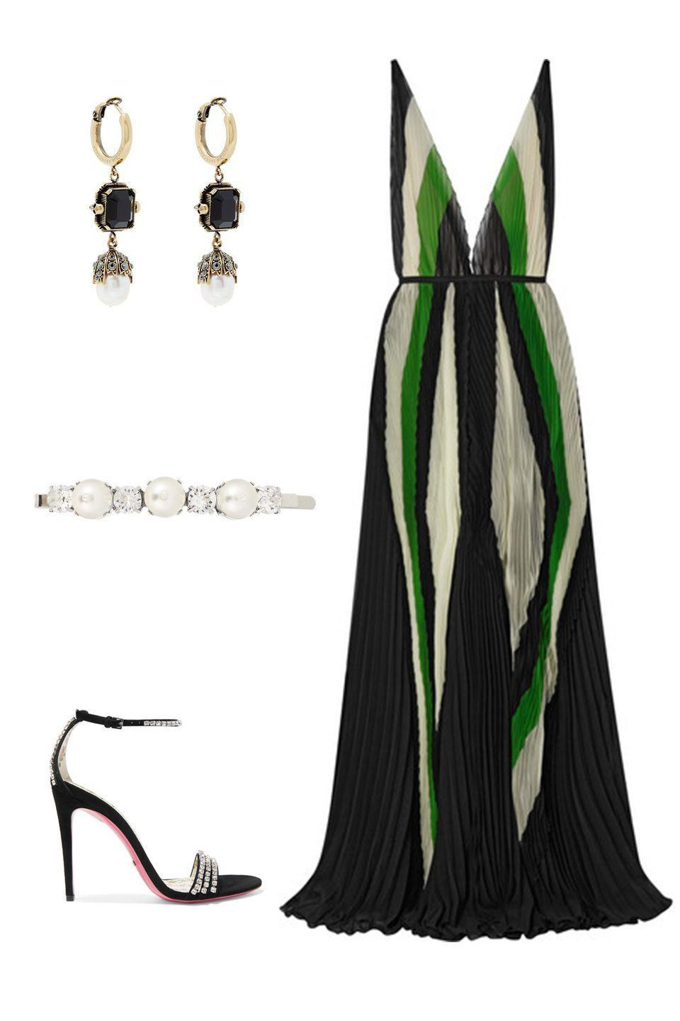 """<p>Pops of bold color and an emphasis on open necklines and backs separates the feeling of black tie dressing for the fall from winter. </p><p><em><strong>Tre</strong> gown, $2,500, <a rel=""""nofollow noopener"""" href=""""https://www.net-a-porter.com/us/en/product/1073136/tre/art-deco-plisse-silk-chiffon-gown"""" target=""""_blank"""" data-ylk=""""slk:net-a-porter.com"""" class=""""link rapid-noclick-resp"""">net-a-porter.com</a>; <strong>Gucci </strong>suede sandals, $1,250,<a rel=""""nofollow noopener"""" href=""""https://www.net-a-porter.com/us/en/product/942142/gucci/isle-crystal-embellished-suede-sandals"""" target=""""_blank"""" data-ylk=""""slk:netaporter.com"""" class=""""link rapid-noclick-resp"""">netaporter.com</a>; <strong>Alexander McQueen </strong>earrings, $980, <a rel=""""nofollow noopener"""" href=""""https://www.matchesfashion.com/products/Alexander-McQueen-Onyx-and-pearl-drop-earrings-1217945"""" target=""""_blank"""" data-ylk=""""slk:matchesfashion.com"""" class=""""link rapid-noclick-resp"""">matchesfashion.com</a>; <strong>Simone Rocha </strong>hair clip, $160, <a rel=""""nofollow noopener"""" href=""""https://www.mytheresa.com/en-de/simone-rocha-crystal-embellished-hair-clip-927518.html?catref=category"""" target=""""_blank"""" data-ylk=""""slk:mythereasa.com"""" class=""""link rapid-noclick-resp"""">mythereasa.com</a>.</em></p>"""