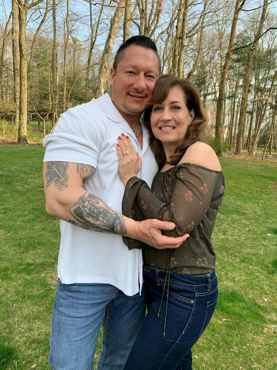 """Police Lieutenant Danny Sienkiewicz decided to propose to his girlfriend Beth Soloman a few months earlier than planned due to the coronavirus pandemic:  """"I started to get really scared, to the point where I believed it was not a matter of if I'm going to contract coronavirus, but when,"""" he says."""