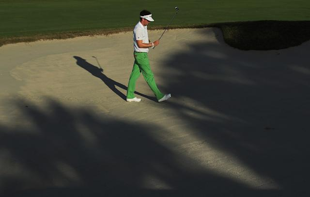 MIAMI, FL - MARCH 10: Keegan Bradley waits to play a bunker shot on the 17th hole during the third round of the World Golf Championships-Cadillac Championship on the TPC Blue Monster at Doral Golf Resort And Spa on March 10, 2012 in Miami, Florida. (Photo by Scott Halleran/Getty Images)