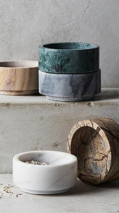 For those recipes that call for just a pinch of something, the marble stacking pinch pot set. (Anthropologie,$24)