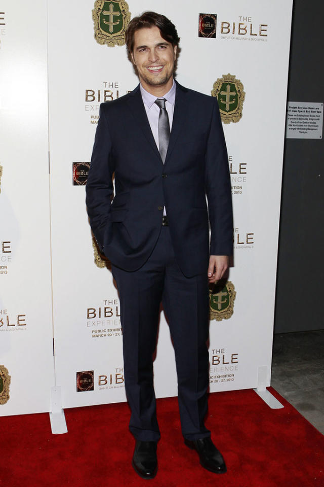 "Diogo Morgado arrives at ""The Bible Experience"" opening night gala, a rare exhibit of biblical artifacts, in New York City on Tuesday, March 19 in New York."