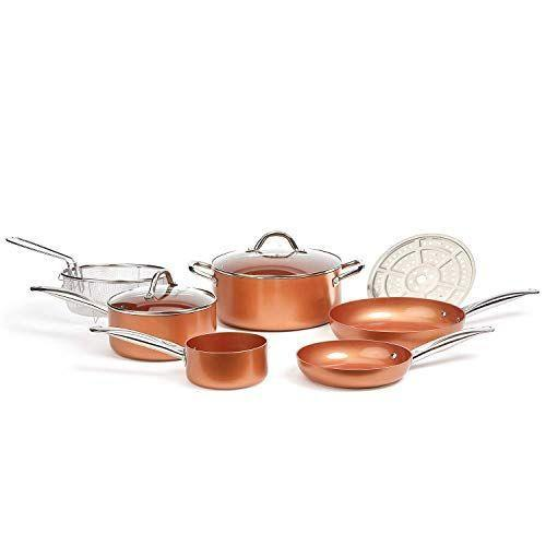 """<p><strong>Copper Chef</strong></p><p>amazon.com</p><p><strong>$119.99</strong></p><p><a href=""""https://www.amazon.com/dp/B074XJ6R2B?tag=syn-yahoo-20&ascsubtag=%5Bartid%7C10049.g.37222274%5Bsrc%7Cyahoo-us"""" rel=""""nofollow noopener"""" target=""""_blank"""" data-ylk=""""slk:Shop Now"""" class=""""link rapid-noclick-resp"""">Shop Now</a></p><p>If you both are always whippin' up delicious meals together in the kitchen, upgrade your cookware set to this stunning copper one.</p>"""
