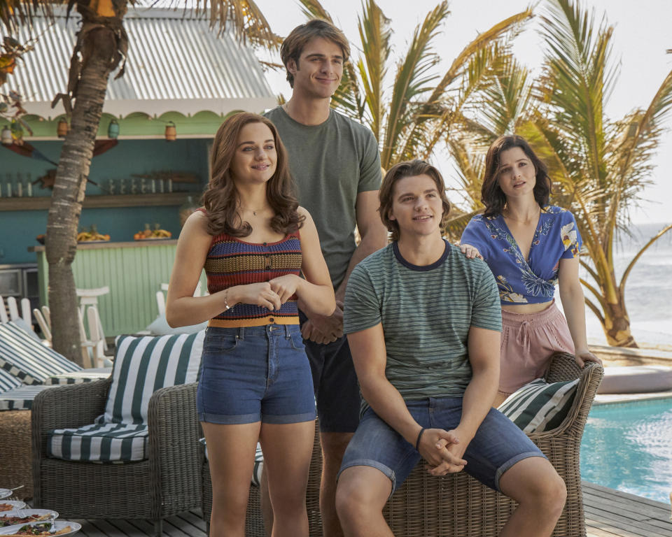 Joey King as Elle, Jacob Elordi as Noah, Joel Courtney as Lee, and Meganne Young as Rachel in The Kissing Booth 3. (Photo: Netflix)