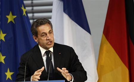 Former French President Sarkozy gesture during his speech at an event hosted by the Konrad-Adenauer foundation in Berlin