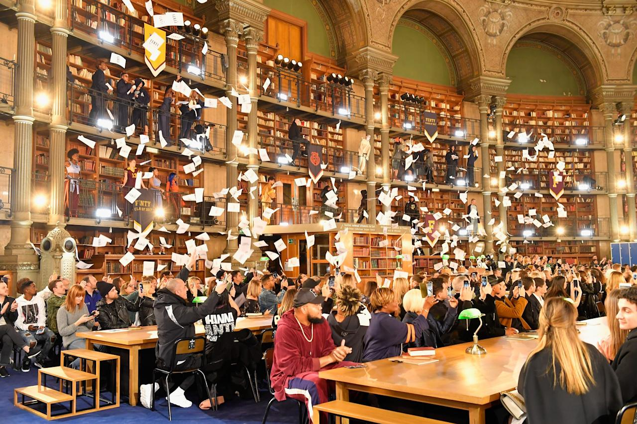 <p>Rihanna took her Fenty Puma AW17 collection to Paris' Bibliotheque Nationale de France aka the library. Her school's out collection saw rebellious models walking on tables and a whole bunch of paper being thrown from the ceiling at the finale.<br /><i>[Photo: Getty]</i> </p>