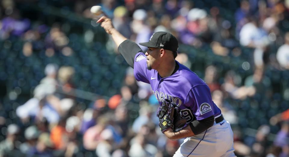 Colorado Rockies starting pitcher Antonio Senzatela delivers a pitch in the first inning of a baseball game against the San Francisco Giants in Denver, Sunday, Sept. 26, 2021. (AP Photo/Joe Mahoney)